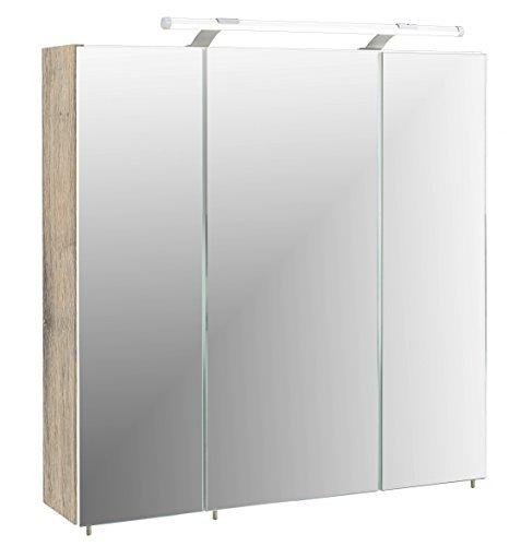 Bad Spiegelschrank Badezimmer Spiegel Badschrank mit Licht Eiche 70.0 x 16.0 x 75.0 cm, wildeiche Dekor