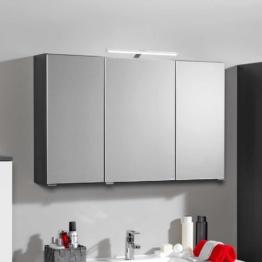 Bad Spiegelschrank Badschrank mit 3D Effekt Anthrazit Badspiegel Schrank mit LED Licht Spiegeltüren