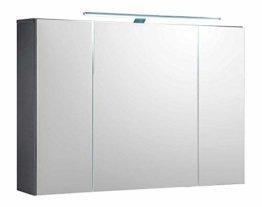 Badezimmerschrank Spiegelschrank Badschrank Hängeschrank 3 Türen LED-Beleuchtung Steckdose BxHxT: 99x70x21 cm