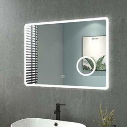 Badezimmerspiegel mit Beleuchtung 80x60 cm LED Badspiegel 3 Lichtfarben Dimmbar Wandspiegel mit Touchschalter + Beschlagfrei + 3-Fach Vergrößerung
