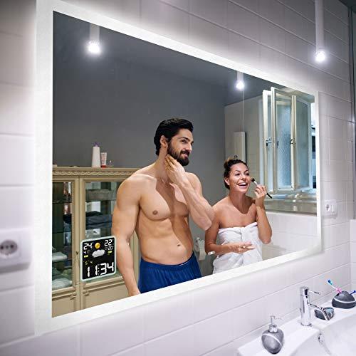 Badspiegel 120x80cm mit LED Beleuchtung Individuell Nach Maß Beleuchtet Wandspiegel Lichtspiegel Badezimmerspiegel