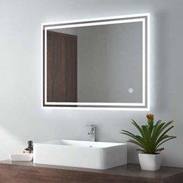 Badspiegel Badezimmerspiegel mit Beleuchtung 80x60cm Lichtspiegel Wandspiegel mit Touchschalter + beschlagfrei