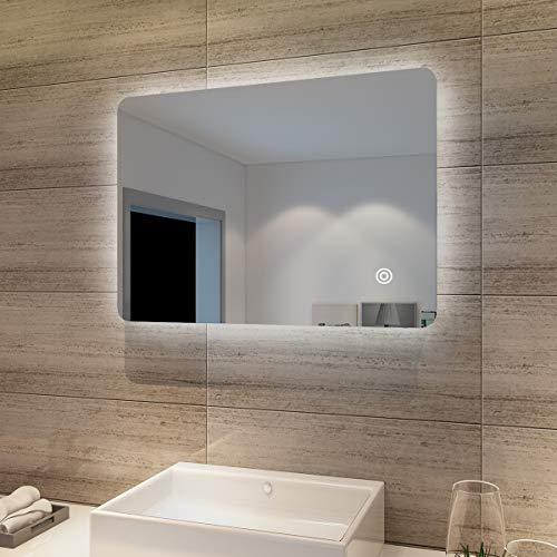 Badspiegel Lichtspiegel LED Spiegel Wandspiegel mit Touch-Schalter 70 x 50cm Modernes Baddesign