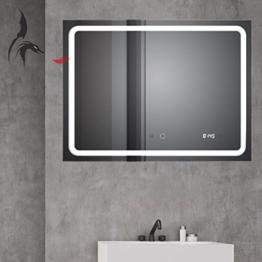 Badspiegel mit ANTIBESCHLAG SPIEGELHEIZUNG Digital Uhr 80x60cm, Badezimmerspiegel mit LED Lichtspiegel