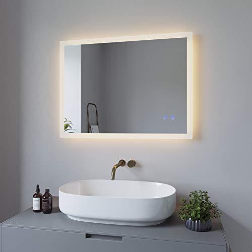 Badspiegel mit Beleuchtung Badezimmerspiegel LED Lichtspiegel Wandspiegel 80x60 cm Energiesparend. Touch-Schalter Dimmbar
