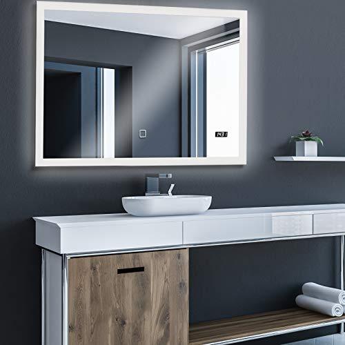 Badspiegel mit LED Beleuchtung, Touchschalter, Dimmbar, Digitaluhr, Badezimmerspiegel, Lichtspiegel, LED Spiegel