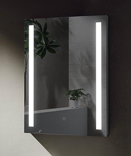 Badspiegel mit seitlicher LED Beleuchtung, Badezimmerspiegel 70x50cm Touch-Schalter