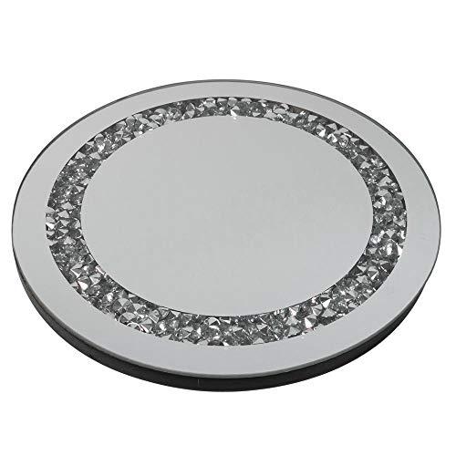 Deko rundes Spiegeltablett Stones mit Spiegelsteinchen aus Spiegelglas, 25x25cm, 1 Stück