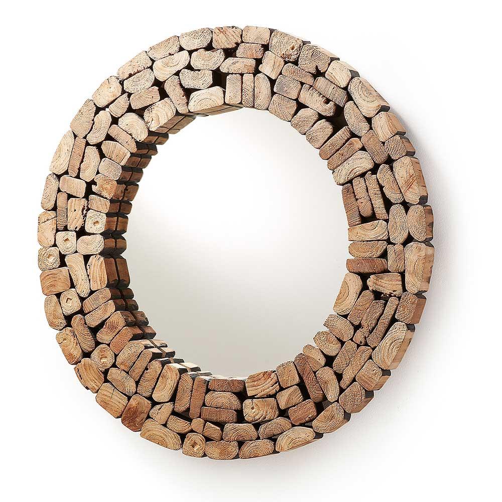 Design Spiegel mit Teakholz Rahmen Runder Wandspiegel natur Holzoptik Holzspiegel Holzdesign Landhaus