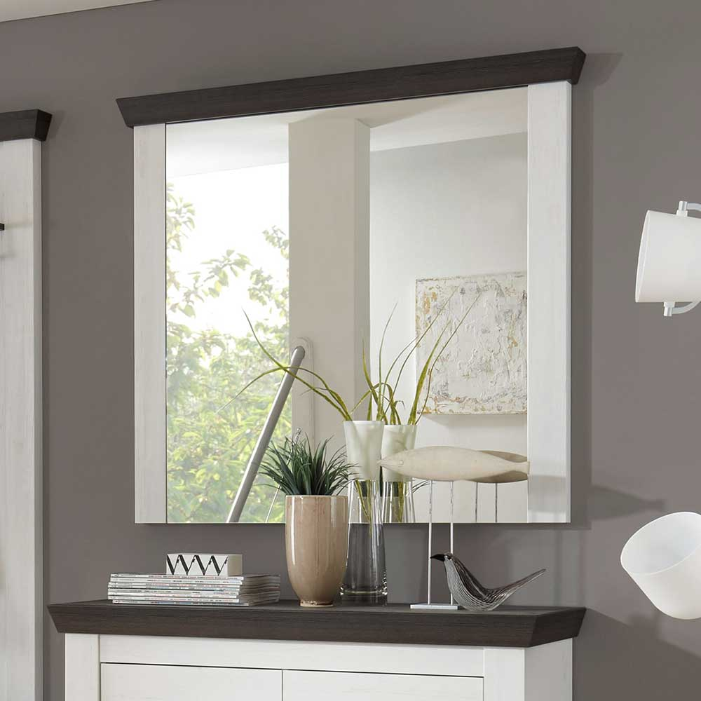 Dielenspiegel Flurspiegel Garderobenspiegel in Weiß Braun Landhausstil Flur Wandspiegel elegantes Design