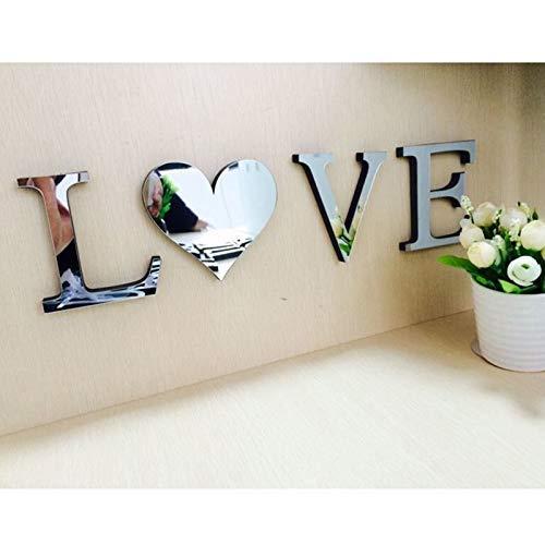 DIY dekorative High-End-Spiegel Wandaufkleber kreativen Spiegel TV Hintergrund Schlafzimmer Korridor Dekoration Wandtattoo Wanddekoration (LOVE silber)