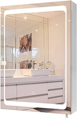 Edelstahl Spiegelschrank mit Beleuchtung Touch Sensor Schalter Badspiegel mit LED 50x13x72cm