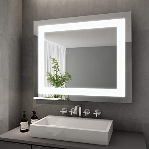 Eleganter Badspiegel mit LED-Beleuchtung Lichtspiegel 60 x 50 cm Badezimmer Wandspiegel Bad Spiegel
