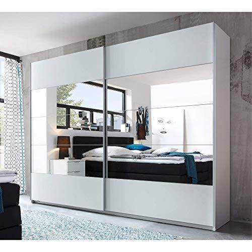 Eleganter Spiegel Kleiderschrank mit viel Stauraum - Vielseitiger Schwebetürenschrank in Weiß & mit großem Spiegel - 270 x 210 x 60 cm (B/H/T)