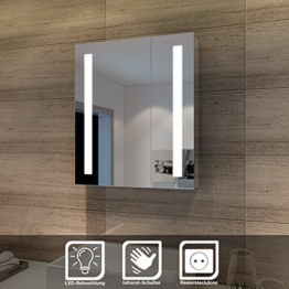Eleganter Spiegelschrank LED 2-türig Badezimmerspiegel mit Beleuchtung 60 x 70 cm Sensorschalter Badschrank mit Rasierersteckdose