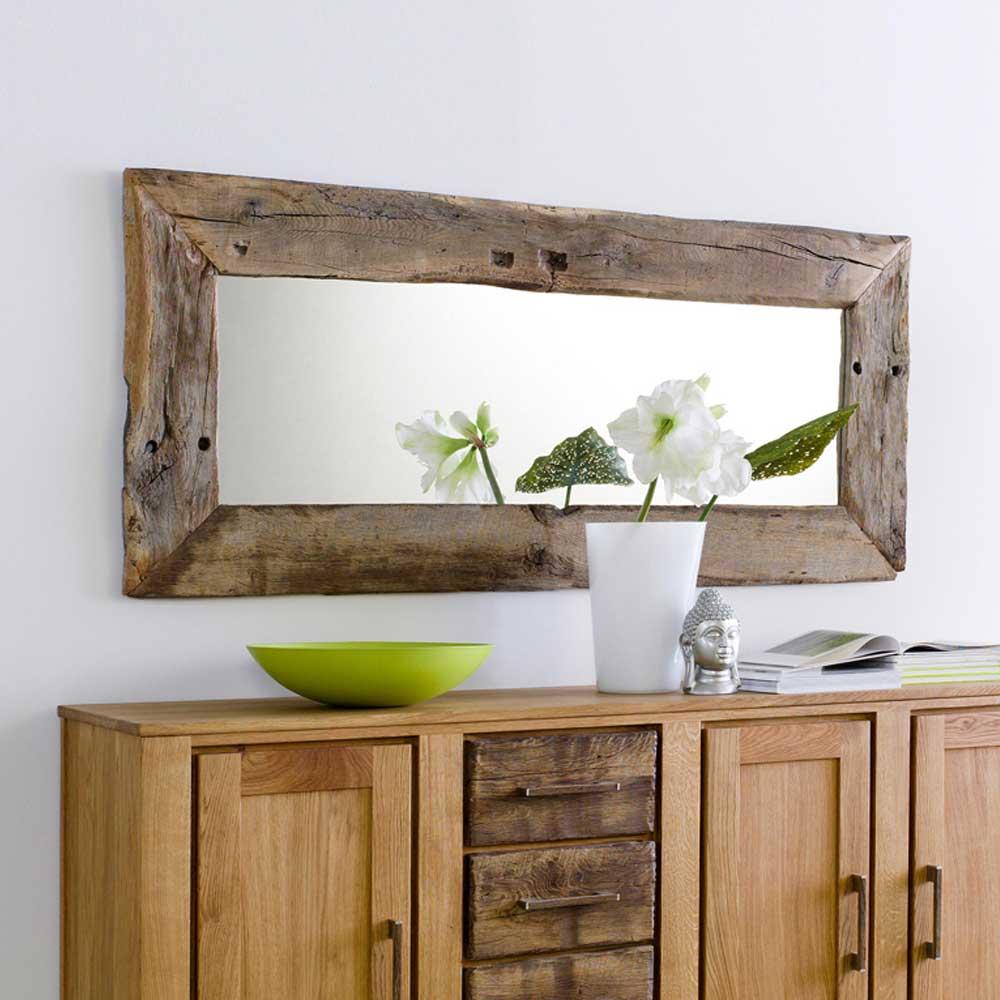 Flurspiegel aus Eichenholz Massiv Holzrahmen Teak Treibholz Landhaus Stil Wandspiegel mit Holz Unikat