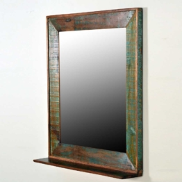 Flurspiegel aus Massivholz Ablage im Shabby Chic Design Altholz Optik extravagant Unikat Holz Wandspiegel