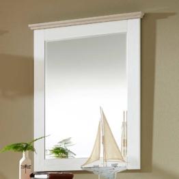 Flurspiegel in Weiß Taupe skandinavischer Landhausstil WC Spiegel weißer Holzrahmen