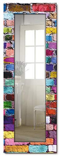 Ganzkörperspiegel Holzrahmen zum Aufhängen Wandspiegel 50x140 cm Design Spiegel Abstrakt Steine Steinwand Mauer Bunt