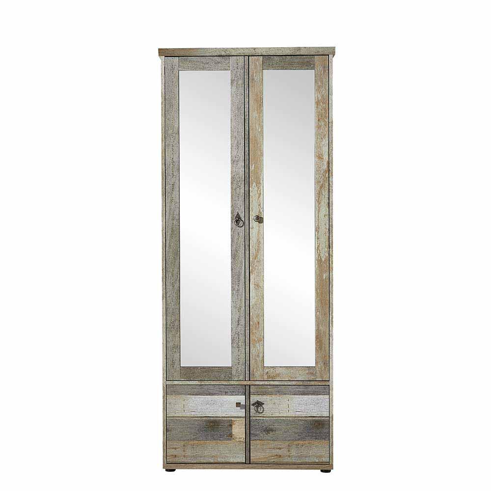 Garderobenschrank Flurschrank in Grau Treibholz Dekor Spiegel außergewöhnliches Design in Shabby Chic Stil mit Spiegeltüren