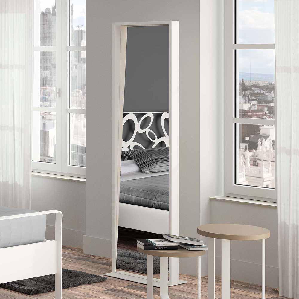 Großer Ankleidespiegel Standspiegel in Metall moderne Spiegel Einrichtung zum Styling oder ankleiden weiß