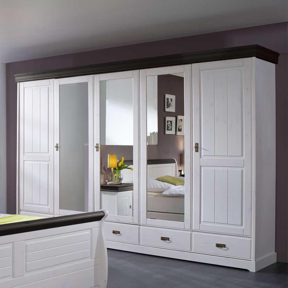 Großer Spiegel Schlafzimmerschrank in Weiß Kiefer Massivholz Landhaus Kleiderschrank mit Spiegeltüren