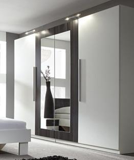 Großer Spiegeltüren Kleiderschrank Schrank 4-türig mit Spiegel weiß/nussbaum schwarz modern