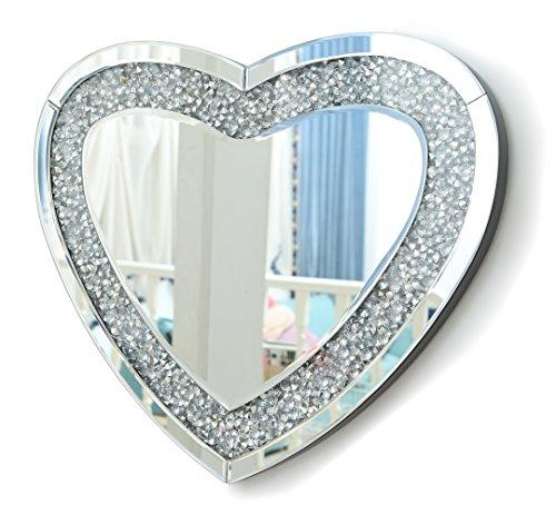 Herz Wandspiegel groß Herzförmig Rahmenlos Design Silber Wand Schminkspiegel mit Glitzer Diamanten, Makeup Spiegel Wohnzimmer Flur 50x60cm