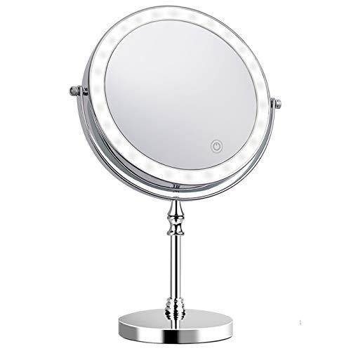 Kosmetikspiegel doppelseitig 360° LED Schminkspiegel mit 1x/10x Fache Vergrößerung Touchscreen Rasierspiegel für Badezimmer