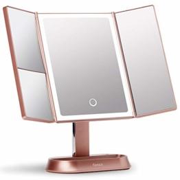 Kosmetikspiegel LED Licht - Beleuchteter Schminkspiegel Vergrößerungsspiegel dimmbare Touch Beleuchtung, Tischspiegel (Rosa)
