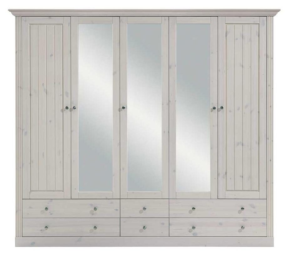 Landhaus Kleiderschrank mit Spiegeltüren Schlafzimmerschrank aus Kiefer Weiß Skandinavisches Design