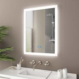LED Bad Spiegel 80x60cm Badspiegel mit Beleuchtung Touchschalter Antibeschlag Dimmbar, Lichtspiegel Badezimmerspiegel Wandspiegel