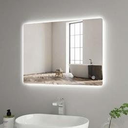 Led Badspiegel 80 x 60 cm Badspiegel Badezimmerspiegel mit Touchschalter Dimmbar Lichtspiegel Touch Light