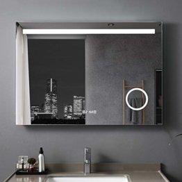 LED Badspiegel Beleuchtung Touchschalter Wandspiegel Antibeschlage Lichtspiegel 100 x 70 cm mit Uhr und Vergrößerung