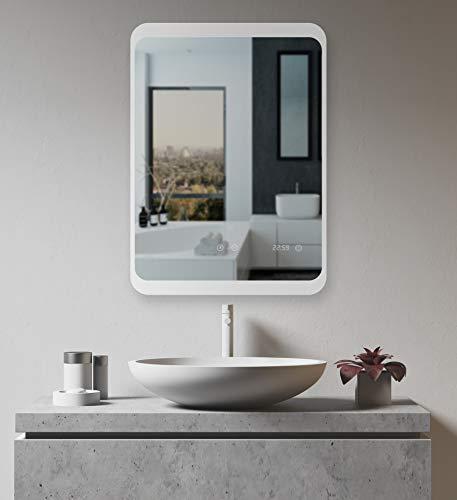 LED Badspiegel mit ANTIBESCHLAG SPIEGELHEIZUNG und digitaler Uhr 60x80cm, Badezimmerspiegel Uhrzeit Smart Touch