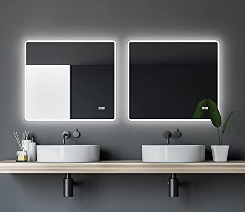 LED Licht Badspiegel 80 x 70 cm Lichtumrahmung - Digitaluhr - Modernes Design helles LED Licht
