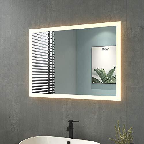 LED Licht Badspiegel mit Beleuchtung Badezimmerspiegel 80x60cm Lichtspiegel Wandspiegel IP44 Energiesparend