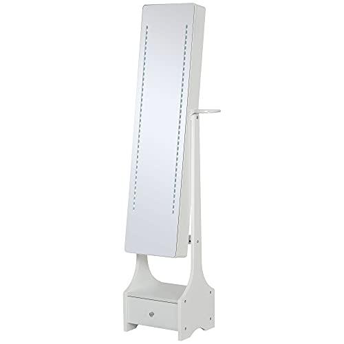 LED Licht Schmuckschrank Aufbewahrung Schrank Schmuckregal Spiegelschrank mit Schublade MDF Weiß 37 x 30 x 158 cm