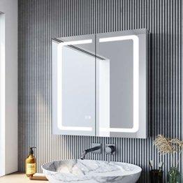 LED Spiegelschrank 65 × 65cm beschlagfrei Spiegelschrank mit Beleuchtung mit Steckdose Aluminum Badezimmerschrank mit Spiegel mit Touchschalter