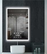 LED-Uhr Wandspiegel Badezimmerspiegel - 60x80cm LED Beleuchtung Badspiegel mit Steckdose, Touchsensor, Mehrere Beleuchtungsmodi