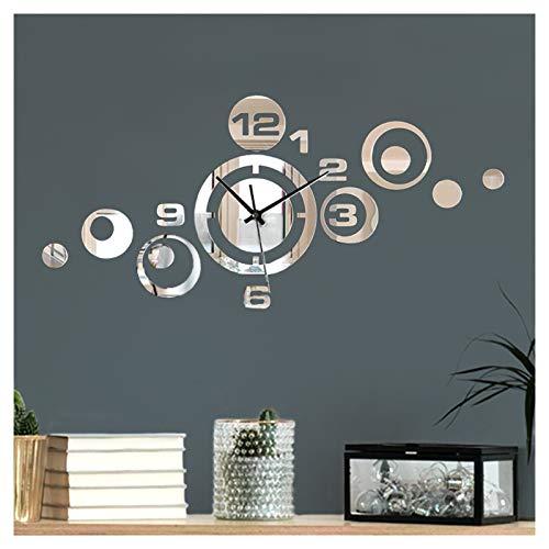 Moderne Design Wanduhr mit Spiegel I (BxH) 53 x 24 cm I Dekouhr Uhrwerk 3D Design Aufkleber selbstklebend Wanddeko Wandaufkleber Wandtattoo W3484