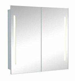 Moderner Design Spiegelschrank Badschrank 2-türig mit LED Beleuchtung 60x60x14,5cm