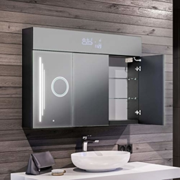 Moderner Spiegelschrank mit LED Beleuchtung 100 x 72 x 16,6 cm Badschrank Beleuchtet Badezimmerschrank LED Multifunktional