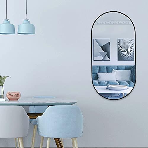 Ovaler Großer Spiegel 100x50cm mit Schwarzen Metallrahmen Kreative Wand Badezimmerspiegel Wohnzimmer Hotel und Diele