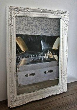 Rechteckiger Wand-Spiegel, handgefertigter Vintage-Antik-Rahmen, weiß, inkl. Befestigung