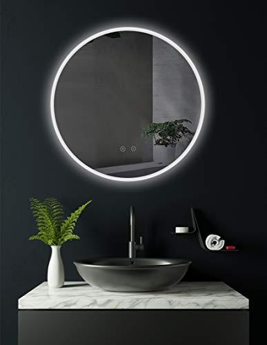 Runder LED Bad Spiegel 60cm mit ANTIBESCHLAG SPIEGELHEIZUNG, LED beleuchtet Badezimmerspiegel rund