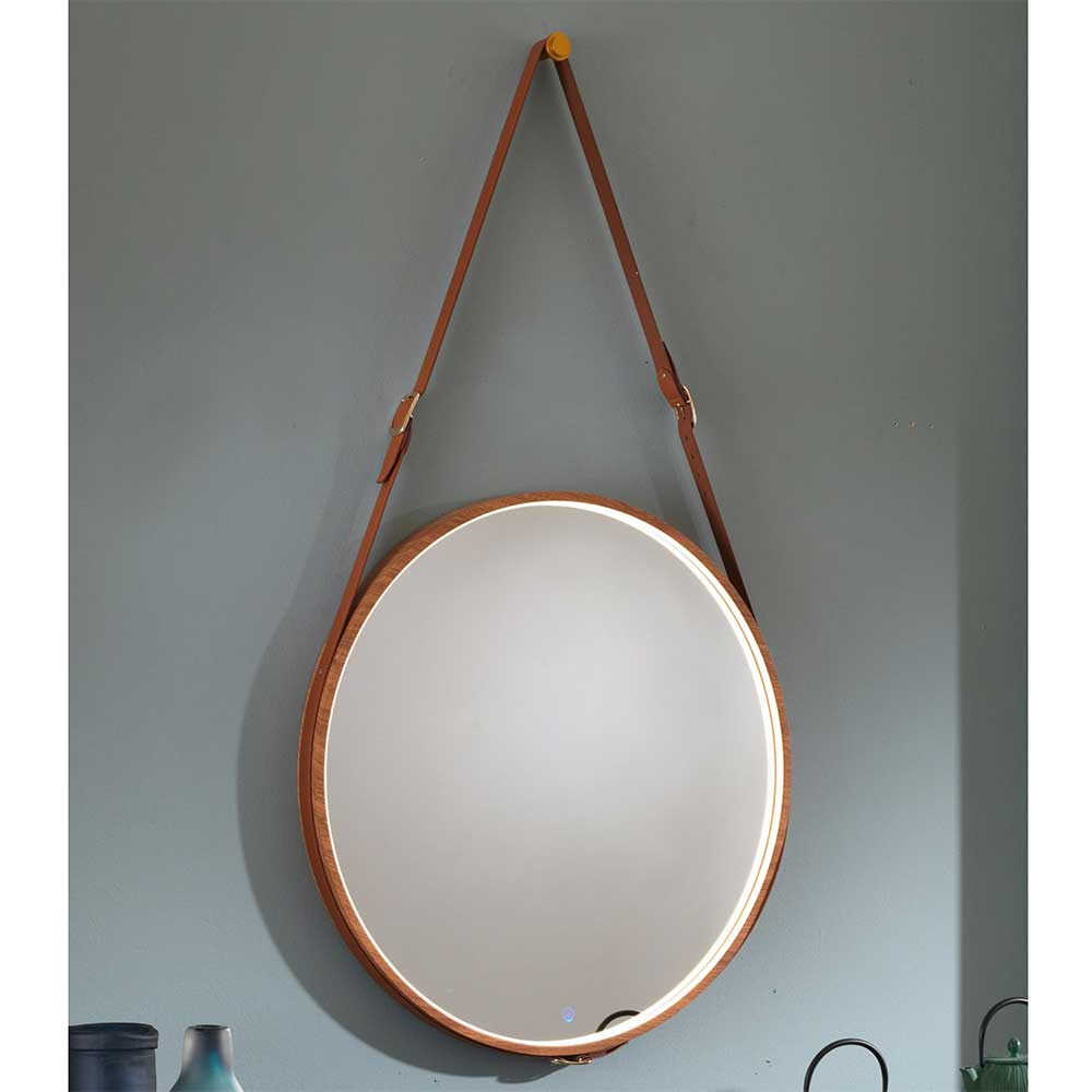 Runder Spiegel in Hellbraun Leder LED Beleuchtung Holzrahmen Lederriemen Designspiegel vintage