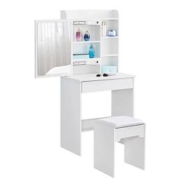 Schminktisch mit Spiegel Schublade moderner Kleiner Schminktisch mit Hocker, Schminktisch für Mädchen, für Schlafzimmer, Wohnzimmer Weiß