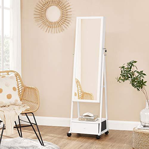 Schmuckschrank, Ganzkörperspiegel, Spiegelschrank, abschließbarer Schmuckorganizer mit Schublade Rollen weiß