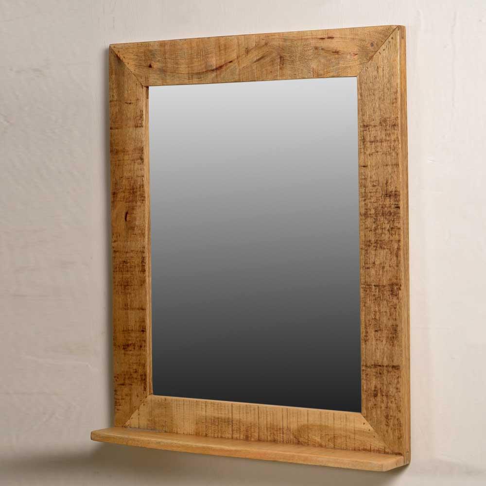 Schöner Holz Spiegel mit Massivholzrahmen Ablage Wandspiegel für Flur, Wohnzimmer und Eingangsbereich